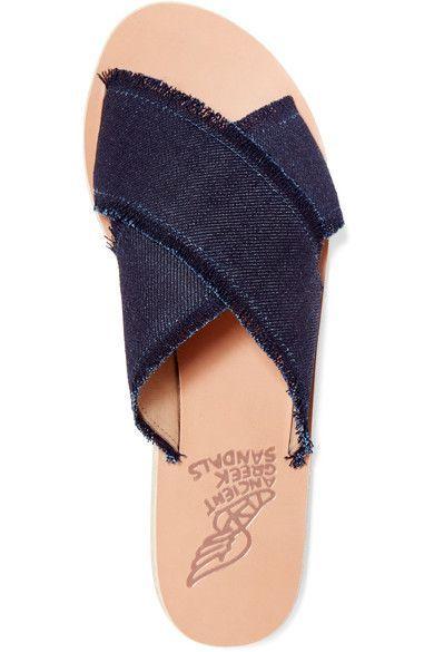 Ancient Greek Sandals - Thais Frayed Denim Slides - Dark denim - IT36