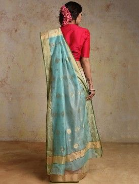 Ivory-Blue Chanderi Saree with Zari Border