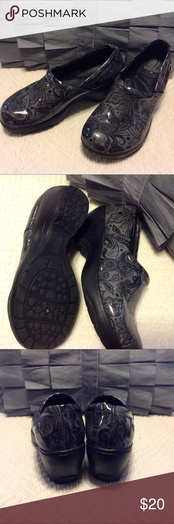 Nurse Mate Pillowtop Clogs 9w Black and grey pattern patent leather Nurse Mate Clogs size 9 Wide.  Very lightweight.  True to size. Very comfortable.  Price is FIRM. Nurse Mates Shoes Mules & Clogs