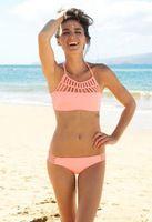 Groothandel/2015 retail zomer bikini bikini badmode mesh hoge hals gehaakt sexy badpak roze vrouwen plus grootte s-xl