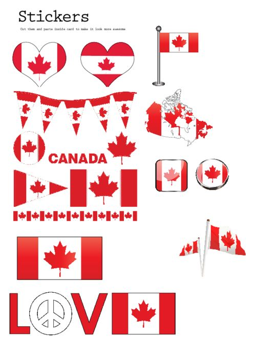 Print your own Canada themed stickers! Canadian stickers are easy to make with this free, printable image. Simply use sticker paper (found at office supply stores or online) and print out this free image, cut and enjoy!
