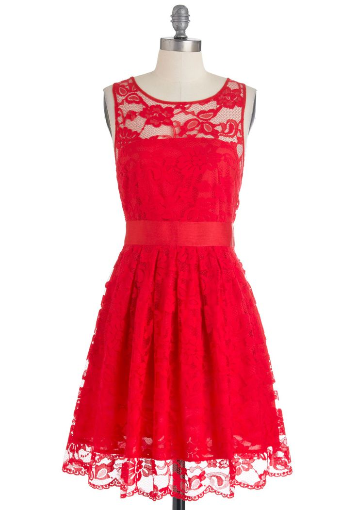 When the Night Comes Dress in Red by BB Dakota - Red, Lace, Party, A-line, Sleeveless, Mid-length, Exclusives, Wedding, Fit & Flare, Solid, Variation, Bridesmaid