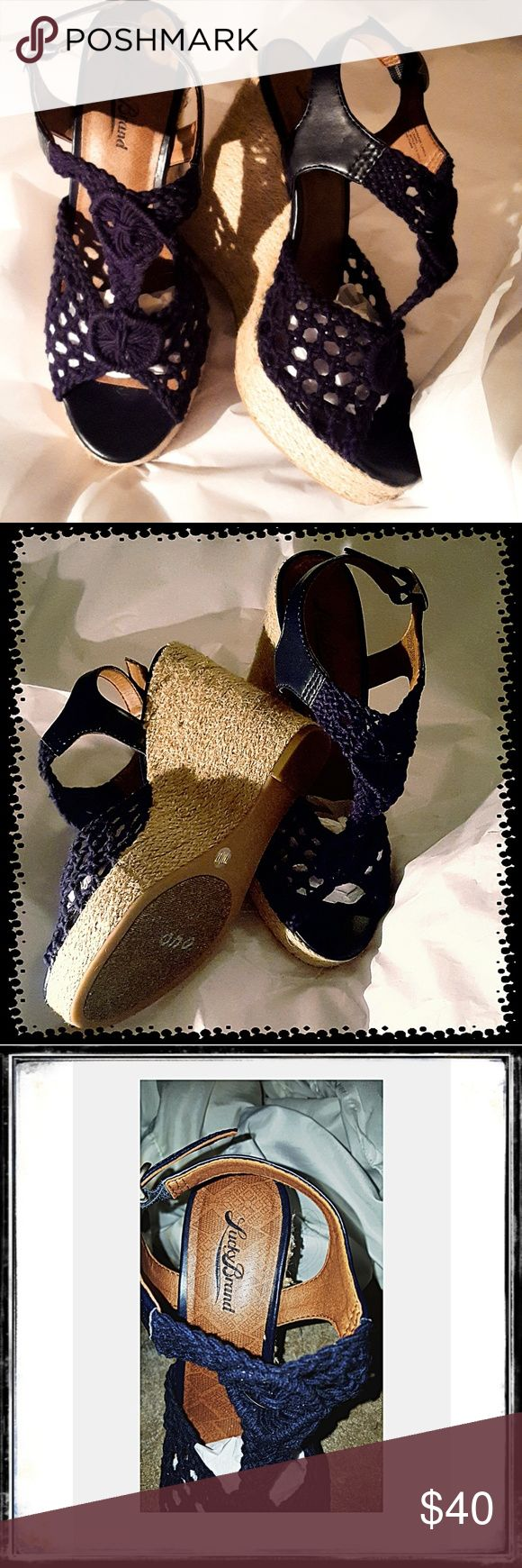 lucky brand boho navy wedge shoes crocet detailing lucky brand navy crochet wedge 4 1\2 inch heels size 7 NWOT wore around the house to try to see if I could walk didn't work.... Lucky Brand Shoes Wedges