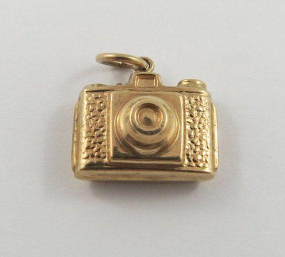 Camera 9K Gold Vintage Charm For Bracelet by SilverHillz on Etsy