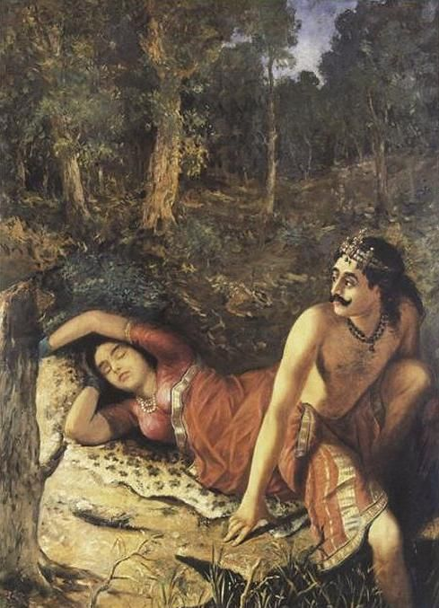 Nala-Damayanti. Painting by Raja Ravi Varma.