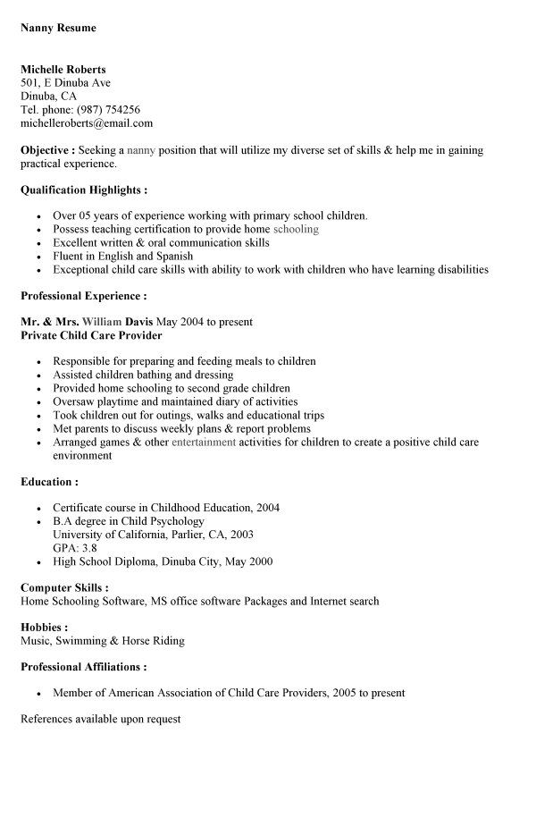 best nanny resume sample free templates and caregiver cover letter samples genius