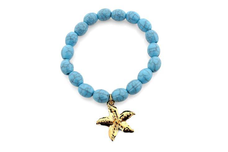 Pulseira azul_estrela do mar dourada