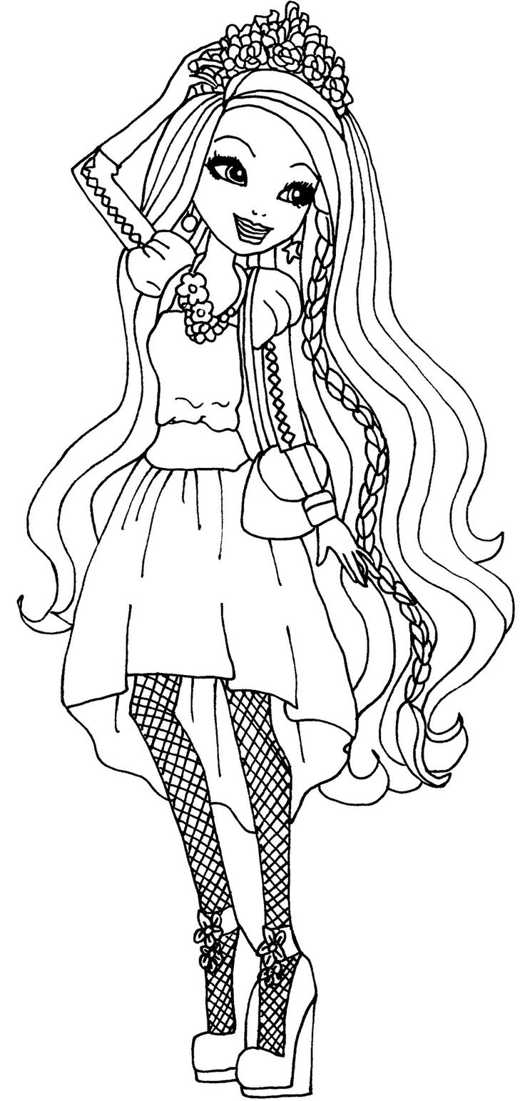 ever after high character color pages for kids/holly o hair - Google Search