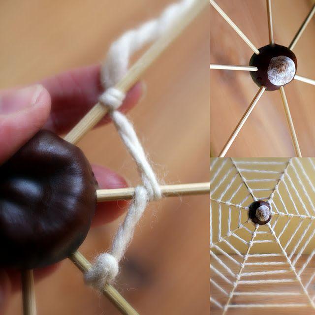 October ~ Spiders & Webs ~ Chestnut Spiderweb ~ tutorial