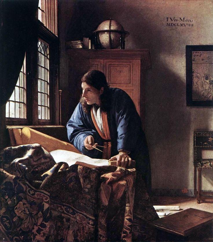 El geógrafo. Johannes Vermeer. 1669. Pintura holandesa. Describe el trabajo cartográfico propio de una época dorada para la cartografía, mediante la detallada exhibición de los objetos y tecnología habituales en ese periodo. http://www.orbemapa.com/2011/01/el-geografo-de-vermeer.html