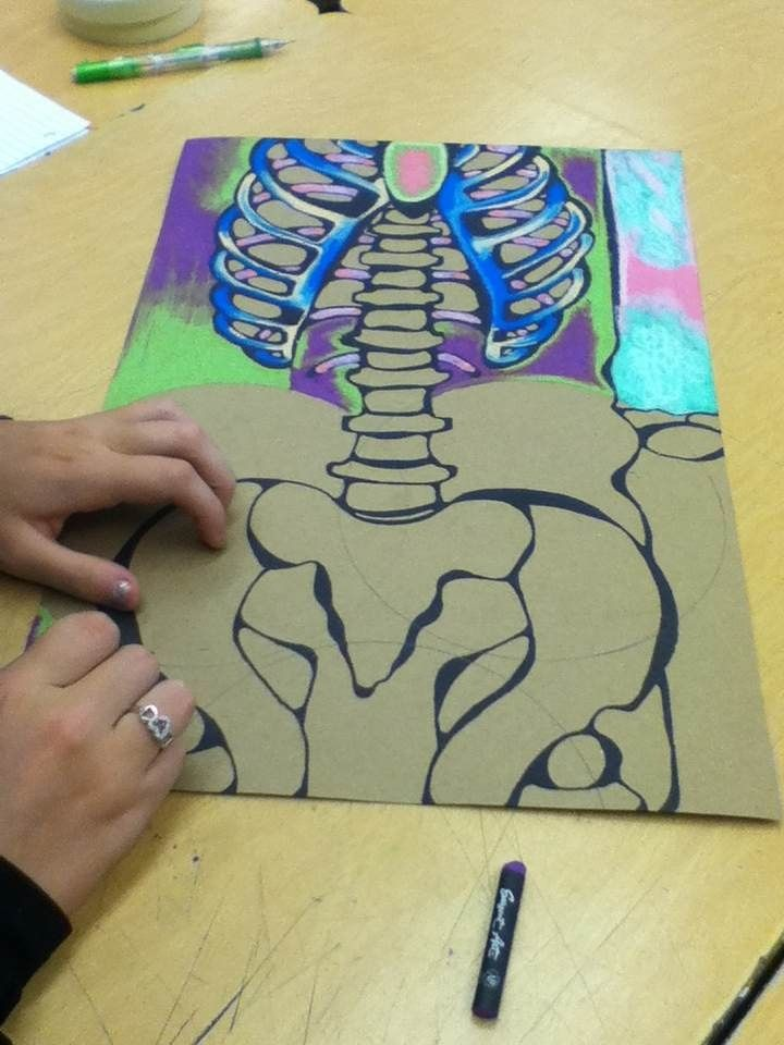 Oil pastels negative drawing idea do something instead of a skeleton