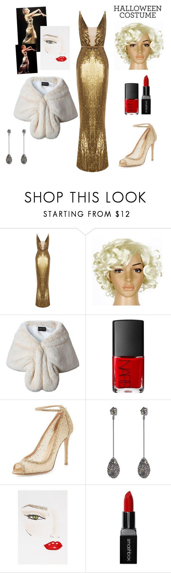 """Marilyn Monroe"" by alison-tann ❤ liked on Polyvore featuring Rachel Gilbert, NARS Cosmetics, Gianvito Rossi, Alexis Bittar, Charlotte Tilbury, Smashbox and halloweencostumes"