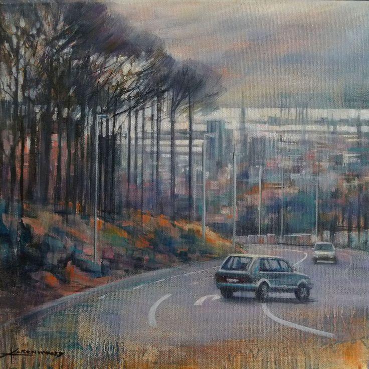 Cape Town cityscape from KloofNek - oil on canvas by Karen Wykerd