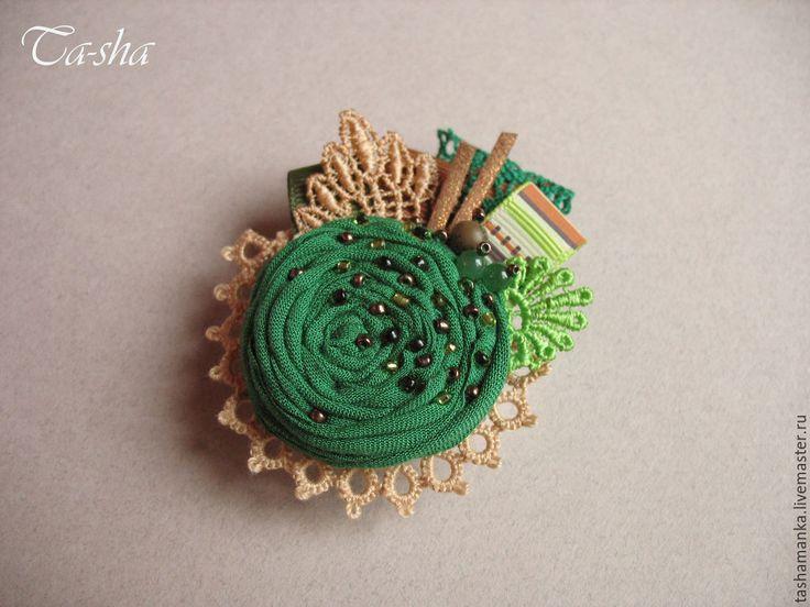 """Купить """"Кедровник"""" брошь бохо цветок зеленый - броши, брошь натуральные камни, брошь с камнями boho chic boho jewelry boho brooch brooch textile"""
