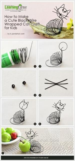 (1) Tutorial on How to Make a Cute Black Wire Wrapped Cat Craft for Kids from LC.Pandahall.com #pandahall | DIY Jewelry & Crafts 2 | Pinterest by Jersica