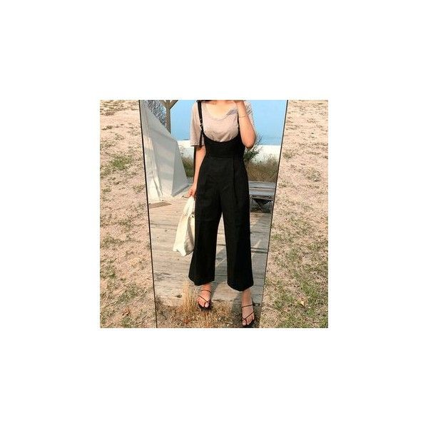 Wide-Leg Suspender Pants ($49) ❤ liked on Polyvore featuring pants, women, wide leg trousers, wide-leg pants, wide leg linen trousers, wide leg linen pants and linen trousers