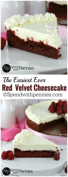 This is one of the easiest Red Velvet Cheesecake recipes you'll find! A simple Red Velvet caketopped with a deliciously quick no-bake cheesecake!