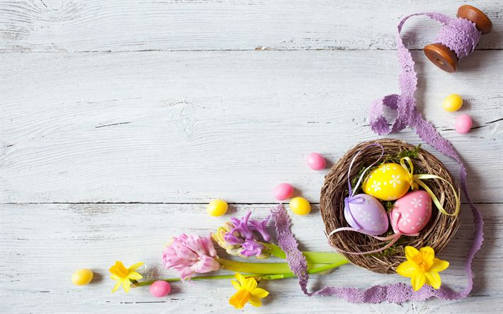 Download wallpapers Easter, painted eggs, holiday attributes, spring, religious holidays, spring flowers