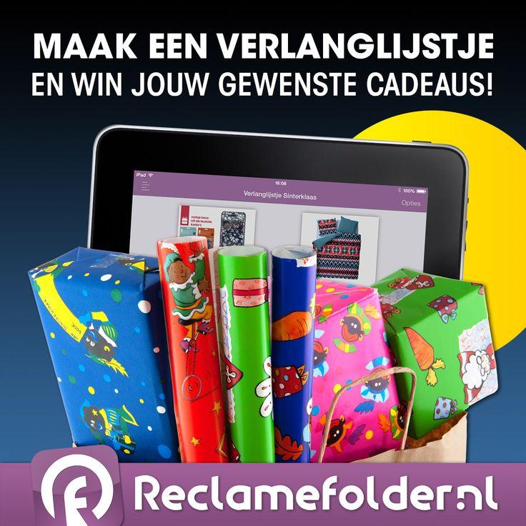 Reclamefolder.nl speelt dit jaar voor hulpsinterklaas!  De Reclamefolder App heeft al meer dan 1,5 miljoen downloads en dit vieren we graag met jullie.  Download de Reclamefolder App via http://www.reclamefolder.nl/app en maak via de app een verlanglijstje (prikbord) met maximaal 5 producten. Mail je verlanglijstje naar sinterklaas@reclamefolder.nl, dit kan tot en met zondag 30 november.  Kijk voor meer informatie en een handleiding op http://www.reclamefolder.nl/sint