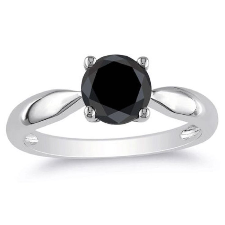 Awesome  Black Stone Round Cut 10K White Gold 1.00 Ct Wedding Women Ring #goldjewellery17 #Solitaire