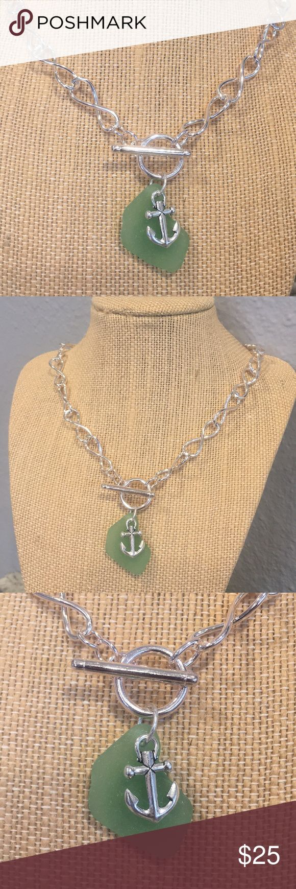 """Light Green Seaglass Silver  Toggle Necklace Figure 8 Toggle Necklace  Seaglass and Anchor Charms Seaglass is authentic seaglass found on the shores of Maui, Hawaii  Necklace and anchor charm are both silver plate Length of necklace: 18"""" Summer, beach, mermaid, sea glass, jewelry Poseidons Treasure Jewelry Necklaces"""