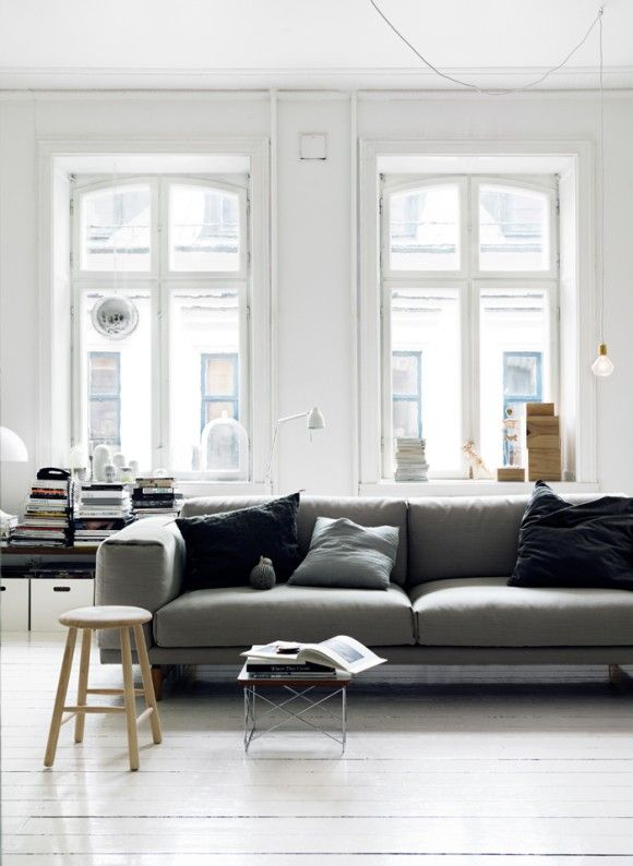 Soft White L Room-Touch of Contemporary Lamps & Sofa: Lights, Grey Couch, Big Window, Living Rooms, Floors, Interiors Design, House, Grey Sofas, White Wall
