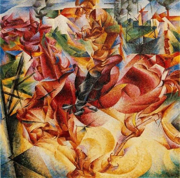 Futurist art painting by Umberto Boccioni. Painting called 'Elasticity.' Done in 1912. Boccioni a futurist artist. Paining literal demonstration of horsepower. JRW