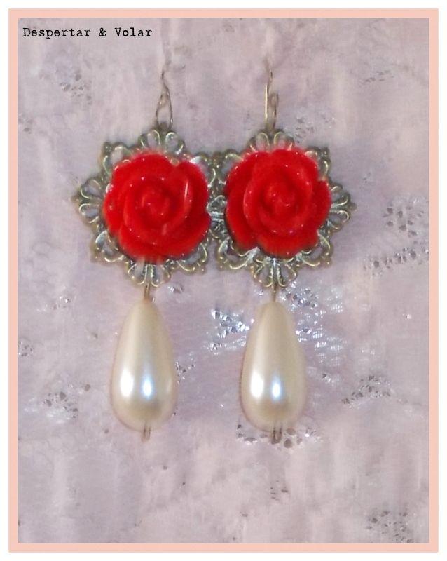 aros de flores y perlas fantasía
