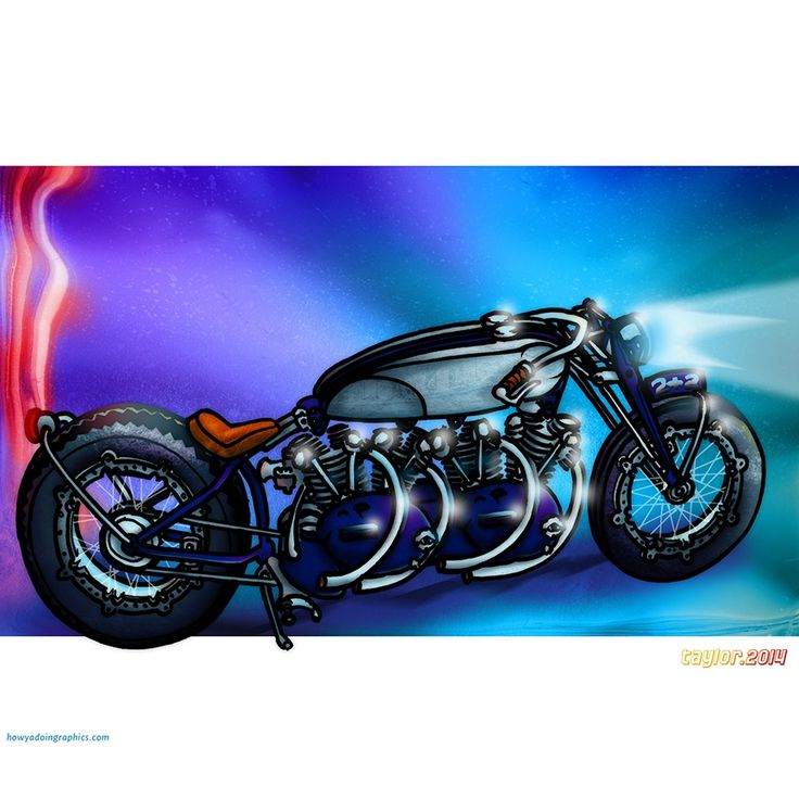 Twin-engined Vincent Black Shadow  http://www.redbubble.com/people/howyadoin/calendars/13088352-bikes #motorcycle #motorcycleart #vincentblackshadow