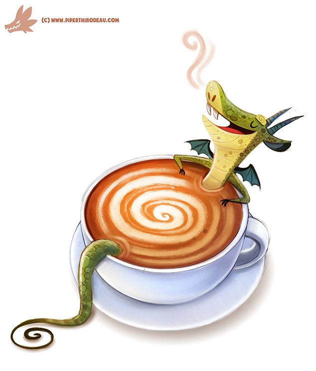 Daily Paint #1115. Latte Dragon by Cryptid-Creations.deviantart.com on @DeviantArt