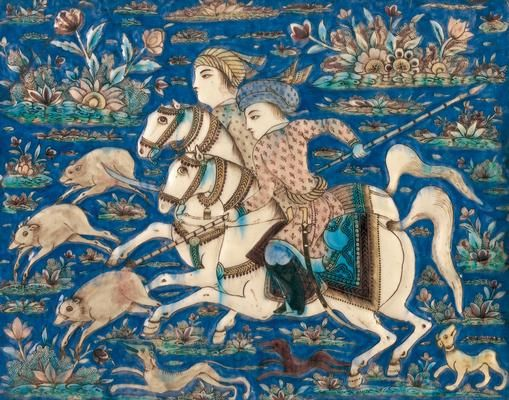Tile [hunt scene], IRAN Qajar period 1794-1925  Tile [hunt scene]  19th century, Iran  earthenware, underglaze decoration