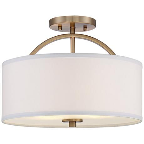 "Halsted Warm Brass Semi-Flush 15"" Wide Ceiling Light $129"