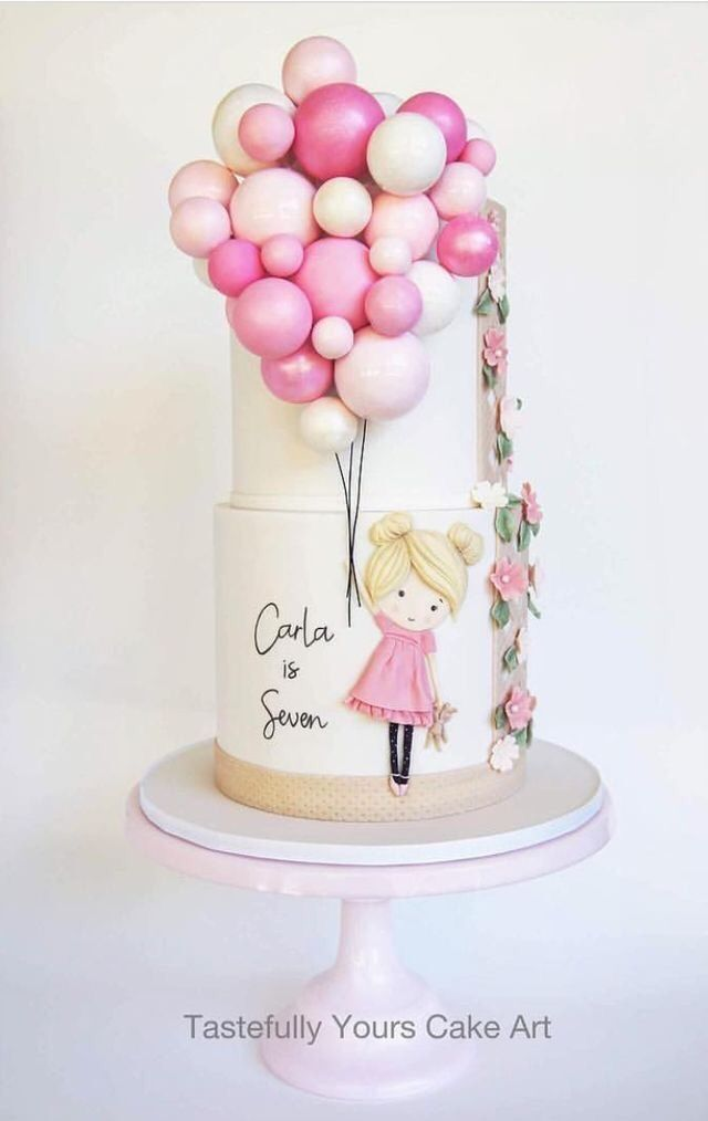 Miraculous Girl Holding Balloons Tiered Cake Birthday Cake Girls Girl Funny Birthday Cards Online Alyptdamsfinfo