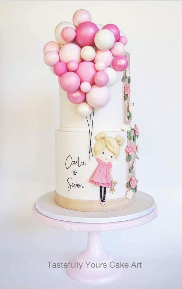 Astonishing Girl Holding Balloons Tiered Cake Birthday Cake Girls Girl Funny Birthday Cards Online Inifodamsfinfo