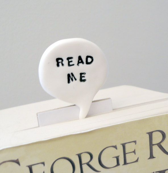 Read me bookmark text in polymer clay speech bubble comic geek text. €15.00, via Etsy.