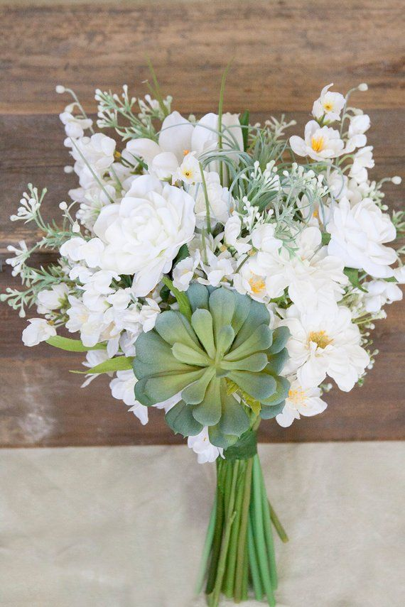 Succulent Bouquet White Bridal Bouquet Wildflower Bouquet White
