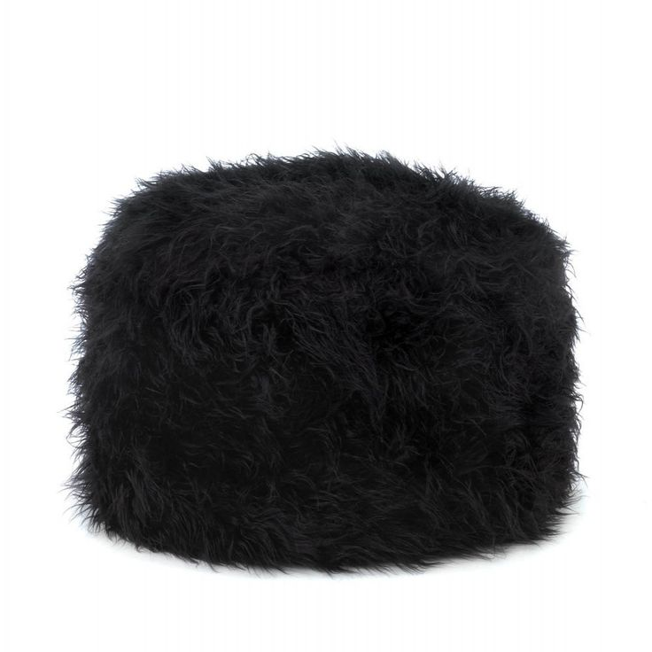 """Lounge in total comfort with this fuzzy black ottoman! Its soft construction and irresistible texture makes it a popular addition to any room. Item weight: 1.2 lbs. 19"""" x 19"""" x 12"""" high. Polyester and"""