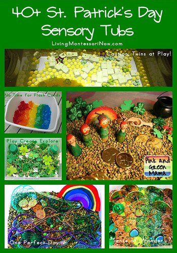 A giant collection green and gold st patrick's day sensory bins