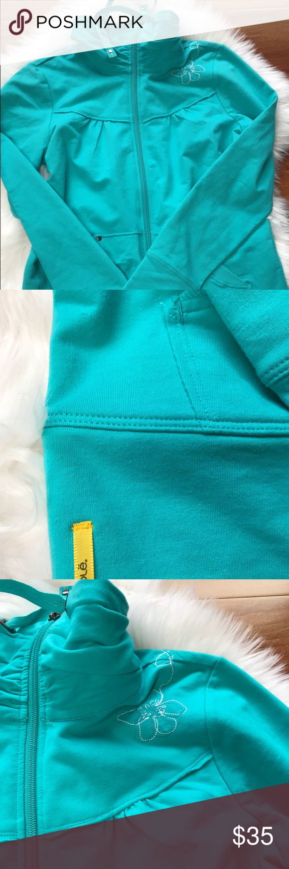 Lole Hoodie Jacket Embroidered NWOT Medium Adorable and soft cotton hoodie. Never worn! No flaws! Lole Jackets & Coats