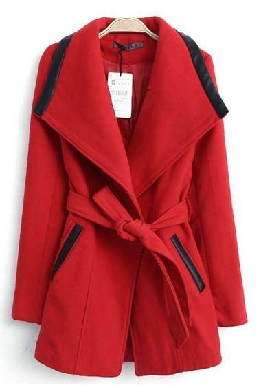 So Pretty! Love the Black Detailing! Red Lapel Long Sleeves Wool Overcoat