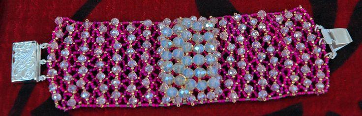 #Bracelet band crystal fuchsia#Crystal#Rocailles#Miyuki#