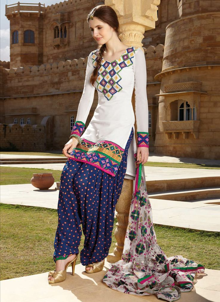 Phulkari essence off white salwar suit