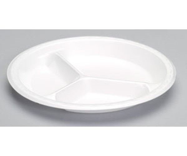 Shop 3 Compartment Foam Plate  Pactive Hotel Supplies Foam Products, Foam Plate  White 6.0 lbs Online At Ramayan Supply.