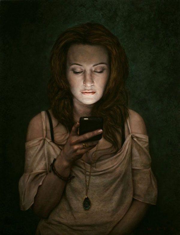 Fascinating Paintings of People Entranced by Their Phones by Dan Witz