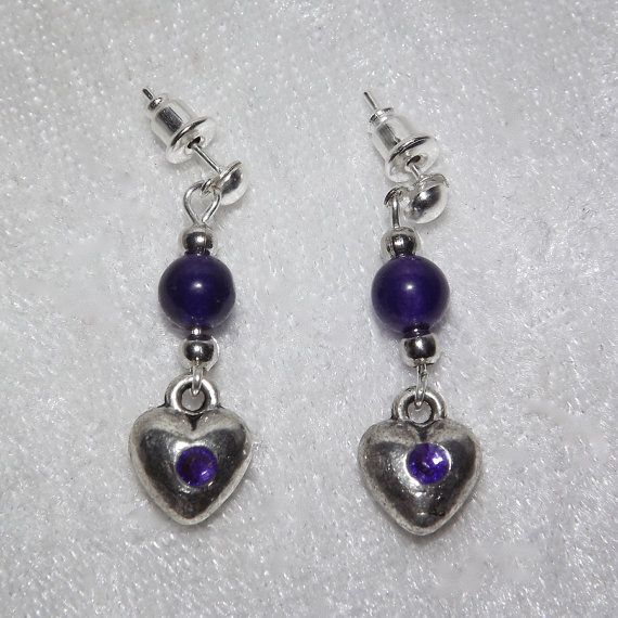 Earrings  Amethyst Purple Heart  Free UK Post  by KasumiCrafts