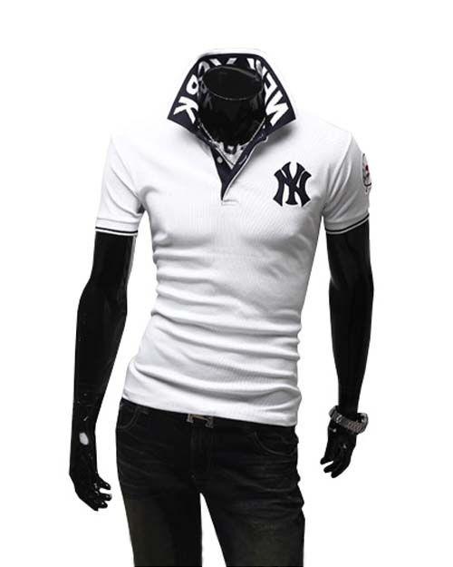 Fashion ny turn-down collar t-shirt male short-sleeve male short-sleeve T- shirt