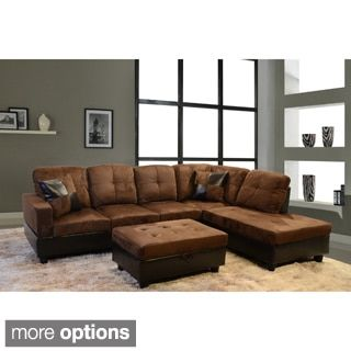 Broyhill Sofa Shop for Delima piece Microsuede Sectional Set Get free delivery at Overstock Brown Sectional SofaSofa SetOnline Furniture Piece