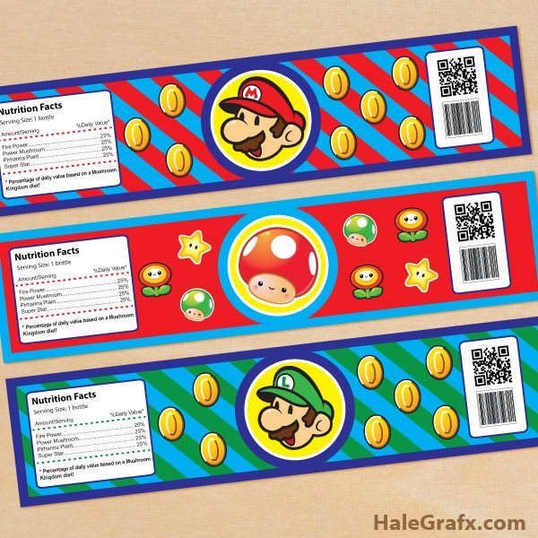 FREE Printable Super Mario Bros. Water Bottle Labels