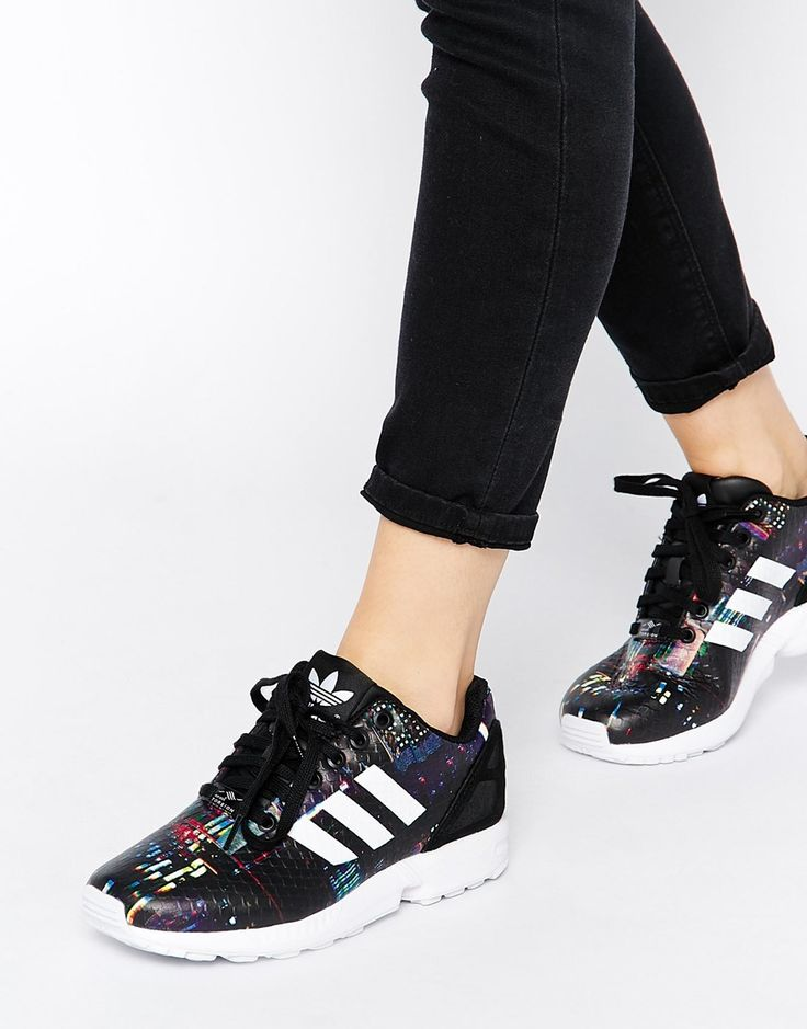 Image 1 of Adidas Originals ZX Flux Black Print Sneakers