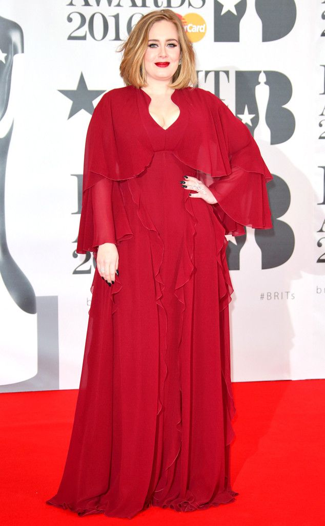 Adele from Brit Awards 2016: Red Carpet Arrivals  The singer wowed in a vibrant red gown.